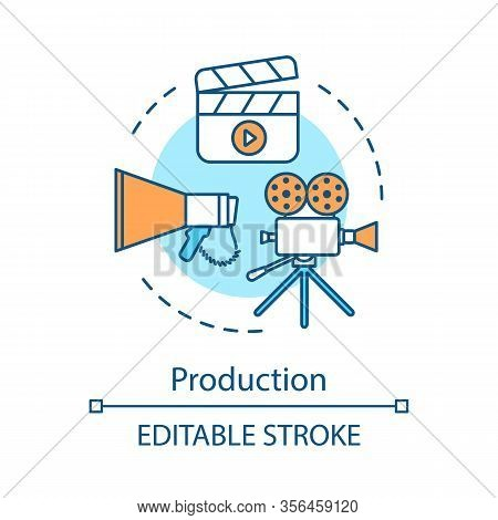 Video Production Concept Icon. Film Making Idea Thin Line Illustration. Cinematography. Movie Produc