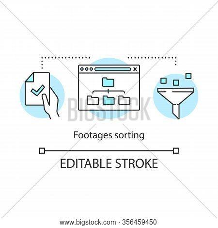 Footage Sorting Concept Icon. Data Storage Idea Thin Line Illustration. Media Files Backup. Folders