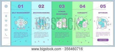 Leader And Management Skills Onboarding Mobile Web Pages Vector Template. Hr Qualities. Curiosity, O