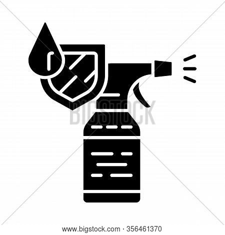 Waterproof Spray Bottle Glyph Icon. Water Resistant Aerosol. Clothes And Shoes Protection. Textile D