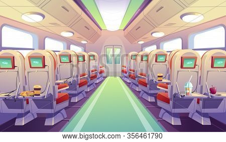 Empty Bus, Train Or Airplane Interior With Chairs And Folding Back Seat Tables. Vector Cartoon Cabin