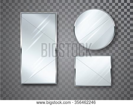 Mirrors Set Isolated With Blurry Reflection. Mirror Frames Or Mirror Decor Interior Vector Realistic