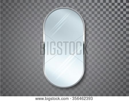 Mirrors With Blurry Reflection. Mirror Frames Or Mirror Decor Interior Vector Realistic Illustration