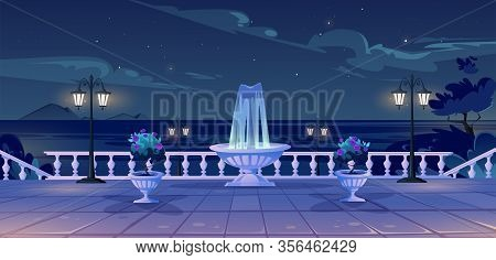 Summer Seafront At Night Time, Empty Quay With Ocean View, Fountain, Decorative Trees, Street Lamps