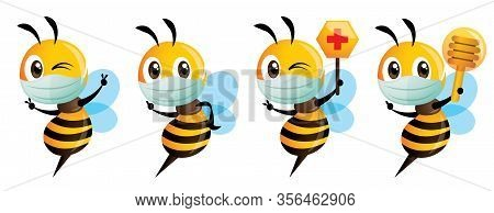 Cartoon Cute Bee Mascot Wear Protective Surgical Mask Series. Cute Bee Holding Red Cross Honeycomb S