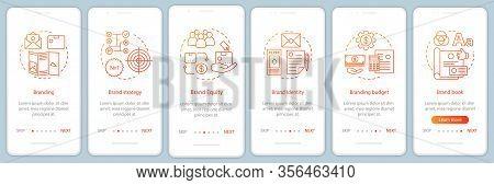 Branding Onboarding Mobile App Page Screen, Linear Concepts. Brand Book Development. Six Walkthrough