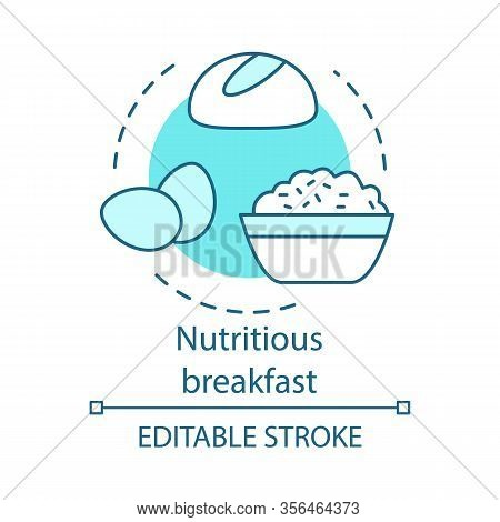 Nutritious Breakfast Concept Icon. Diet Food. Healthy Meal. Nourishing Food. Bread, Eggs, Cereal. Ba