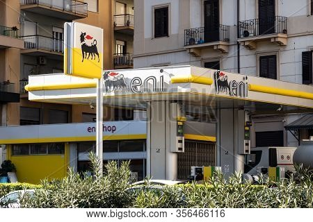 Palermo, Sicily - February 8, 2020: The Petrol Station Eni Agip In The Streets Of Palermo City Where