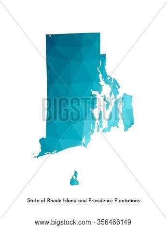 Vector Isolated Illustration Icon With Simplified Blue Map Silhouette Of State Of Rhode Island And P