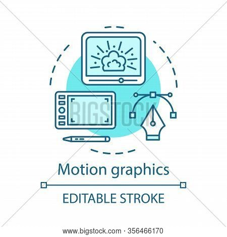 Motion Graphics Concept Icon. Visual Effects Idea Thin Line Illustration. Film Editing. Amination. V
