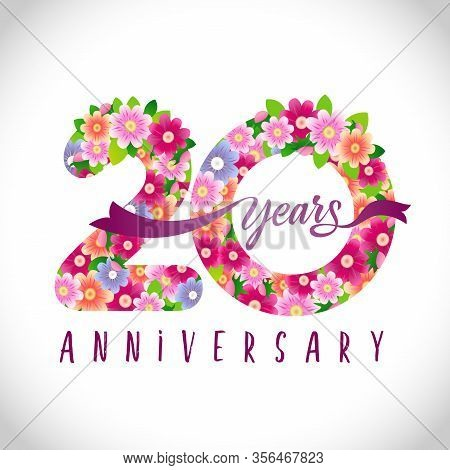20 Th Anniversary Numbers. 20 Years Old Logotype. Floral Pink Congrats. Isolated Abstract Graphic De
