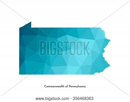 Vector Isolated Illustration Icon With Simplified Blue Map Silhouette Of Commonwealth Of Pennsylvani