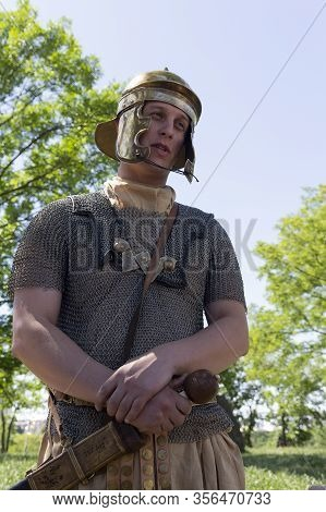 Kiev, Ukraine - May 27 2018: Man Dressed As A Roman Legionary In The Festiva  Of Historical Reconstr