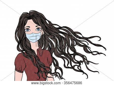 Long-haired Girl In Medical Face Mask. Dangerous Chinese Coronavirus Quarantine, Covid-19 Spread. Ve
