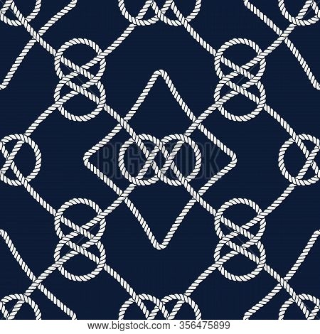 Vector Endless Nautical Rope Pattern, Hand Drawn