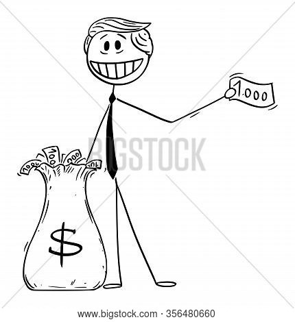Vector Illustration Of American President Donald Trump Giving Money Away, Using Helicopter Money Or