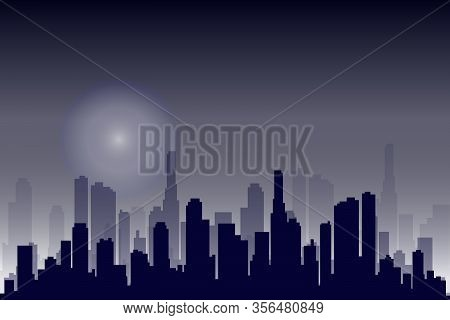 Flat Cityscape. Vector Illustration. Modern City Skyline, Daytime Panoramic Urban Landscape With Sil