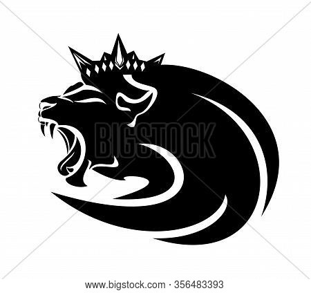 Roaring Lion Head With Long Mane And Royal Crown - King Animal Black And White Vector Outline