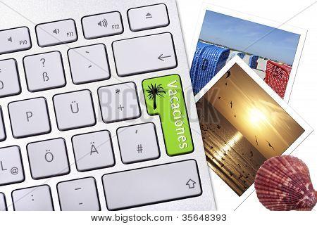 Computer Button With Label Vacaciones