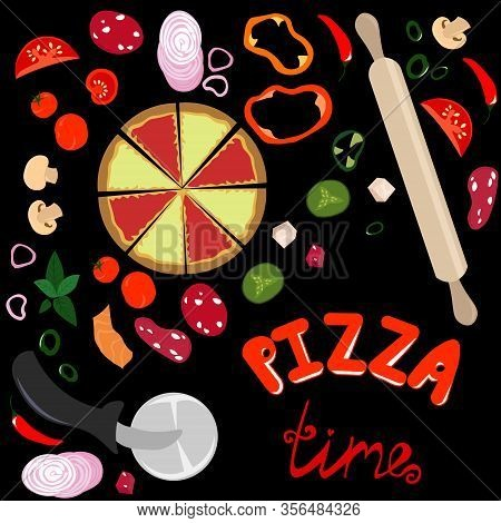 Pizza Time. Ingredients For Pizza. Peppercorn, Vegetables And Mushrooms. Pizza Knife And Rolling Pin