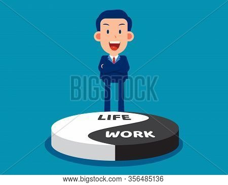 Advice About Work-life Balance. Equilibrium Concept. Flat