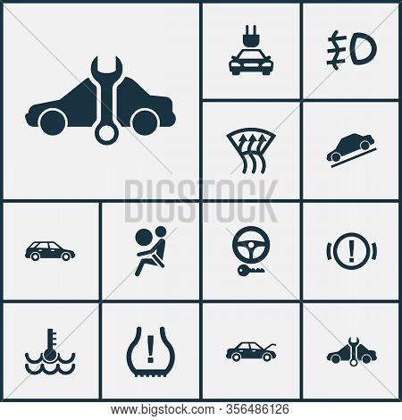 Auto Icons Set With Service, Key, Airbag And Other Steering Elements. Isolated Vector Illustration A
