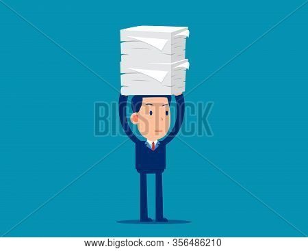 A Lot Of Documents. Workload Concept. Cute Business Cartoon Vector Style.