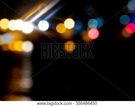 Defocused Bokeh Color Lights Abstract Background. Colorful Dots Defocused Background.