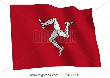 Isle Of Man Flag, 3d Render. Flag Of Isle Of Man Waving In The Wind, Isolated On White Background.