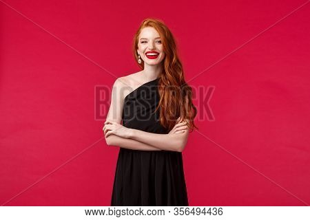 Elegance, Fashion And Woman Concept. Portrait Of Elegant And Sexy Confident Young Woman With Ginger