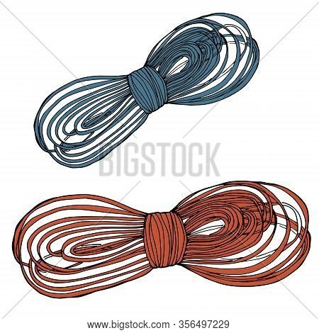 Realistic Fiber Ropes - Straight And Tied Up. Jute Or Hemp Twisted Cords With Loops Isolated On Whit