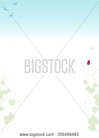 Blank Copy Space Paper Sheet With Spring Season Decoration Leafs Birds And Butterfly