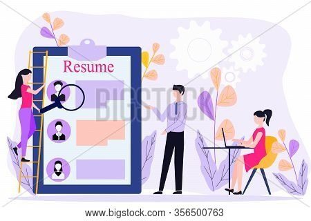 Concept Of Staff Recruitment Or Employee Hiring. Office Workers Standing In Front Of List Of Job App
