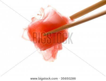 ginger with chopsticks  shot on white