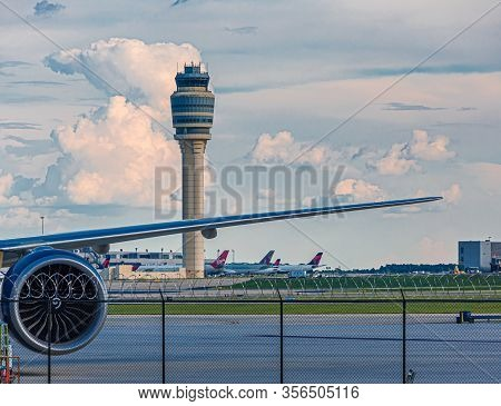 Atlanta, Georgia - June 30, 2019: Hartsfield-jackson Airport Is The Busiest Airport In The World, An
