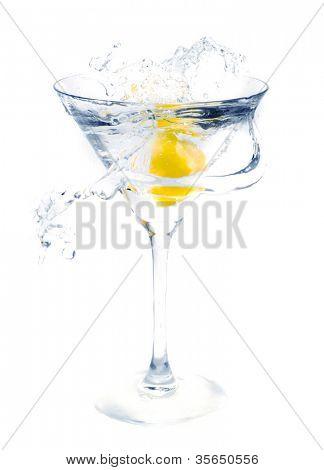 splashing fruit into a martini glass