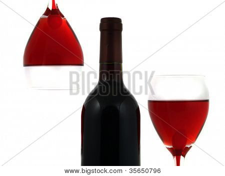 Glass with red Wine. Abstract.