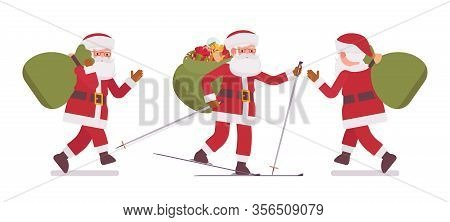 Santa Claus, Father Christmas Skiing Carrying Heavy Gift Bag. Portly, Jolly, White Bearded Man Weari