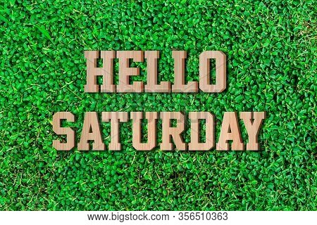 Hello Saturday Made From Wooden Alphabet On Green Leaf Background.