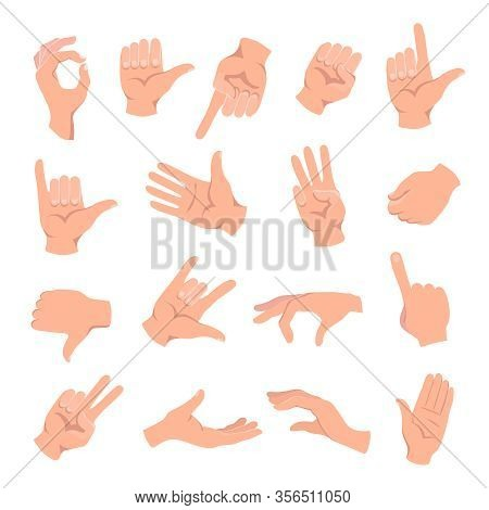 Set Of Hands In Different Gestures , Hand Showing Signal Or Sign Collection, Isolated Vector Illustr