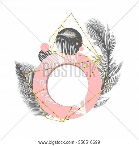 White Fluffy Feathers On Pink Circle Frame, Vector Abstract Background. Fluffy Feathers And Plumage