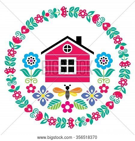 Scandinavian Folk Art Vector Cute Floral Pattern With Finnish Or Norwegian House In Round Frame, Gre