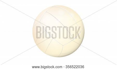 Realistic Volleyball Ball Isolated On White Background. Sports Equipment, Team Game. Leather Object