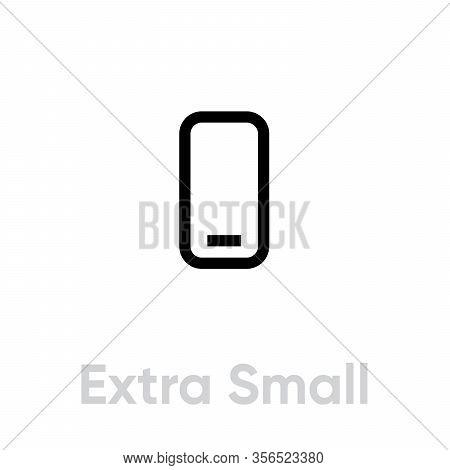 Extra Small Phone Tech Specs Icon. Editable Line Vector.