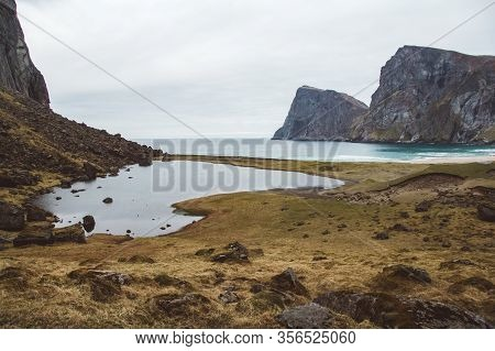 Norway Mountains And Landscapes On The Islands Lofoten. Natural Scandinavian Landscape. Place For Te