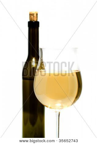 Bottle wine and glasses with a wine