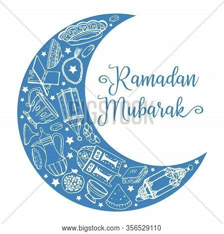 Crescent Moon With Traditional Ramadan Objects And Iftar Food. Title Blessed Ramadan In Arabic. Hand