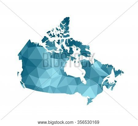 Vector Isolated Illustration Icon With Simplified Blue Silhouette Of Canada Map. Polygonal Geometric