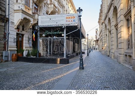 Bucharest, Romania - March 19, 2020: Caru Cu Bere Restaurant Closed Down During The Coronavirus (cov