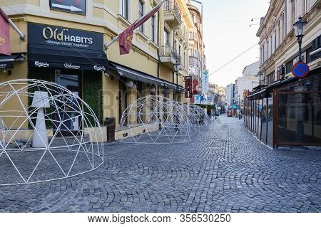 Bucharest, Romania - March 19, 2020: Empty Pedestrian Areas In The Old City Center, After Bars And R